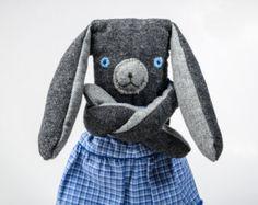 Blue-eyed foggiebop girl, softie, stuffed art doll, wool plush, nursery decoration, woodland animal, baby girl shower gift, soft bunny