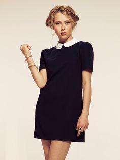 Dahlia Navy Collar Shift Dress with Pearl Embellishment