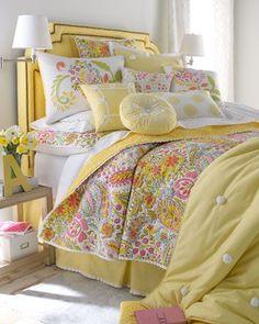 Cheerful cottage bedding.