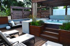 Hot tub decking hot tub in 2019 hot tub deck, hot tub patio, ho Hot Tub Backyard, Hot Tub Garden, Backyard Patio, Jacuzzi Outdoor Hot Tubs, Pergola Patio, Rooftop Design, Deck Design, Design Design, Landscape Design