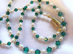 Emerald and Pearl Necklace by cvjewels on Etsy, $18.00