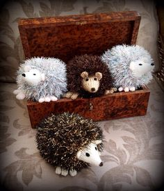 Hedgehogs knitted in Tinsel Wool.