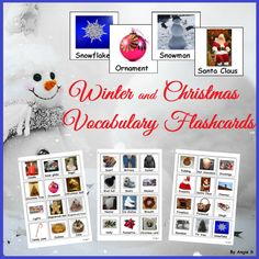 Winter and Christmas Vocabulary Photo Flashcards for Autism, Special Education and Speech Therapy, Pecs, TEACCH, OT, toddlers, kindergarten and preschool students. Can be used for different games and activities in the classroom for the holidays.