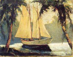 Vintage Art Oil Painting Print On Canvas Tropical Coast Sail Boat Santa Barbara Santa Barbara Museum, Painting Prints, Canvas Prints, Vladimir Kush, British Colonial Style, Tropical Home Decor, Summer Painting, Old Paintings, Ship Paintings