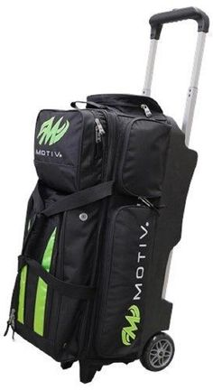 3 or More Balls 71096: Motiv 3 Ball Deluxe Roller Bowling Bag With Urethane Wheels Black/Green -> BUY IT NOW ONLY: $132.95 on eBay!