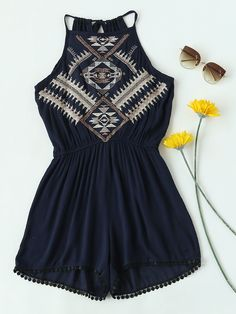 Shop Aztec Embroidered Lace Hem Tie Back Pleated Romper online. SheIn offers Aztec Embroidered Lace Hem Tie Back Pleated Romper & more to fit your fashionable needs. Girls Fashion Clothes, Teen Fashion Outfits, Girly Outfits, Outfits For Teens, Girl Fashion, Casual Outfits, Cute Outfits, Cute Summer Outfits, Spring Outfits