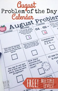 This cute set of math calendars is such a fun, simple and low prep way to weave in daily math practice! The August problem of the day calendar covers a wide variety of skills, and includes 2 versions for grades K-2 and 3-5.