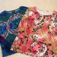 2 tops 1 price. Size 2x. Some beads missing from both tops. Gold beads on front of coral top. Different color and style of beads on blue top. Blue top a little worn around collar. Tops