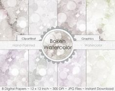 GRAY WATERCOLOR Digital Paper Pack Commercial Use by ClipArtBrat