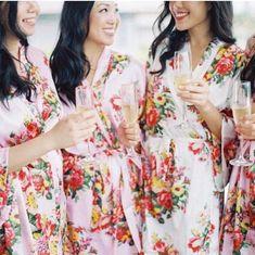 Bridesmaid Robes and Wedding Accessories Bridesmaid Robes, Bridesmaid Proposal, Wedding Bridesmaids, Silk Kimono Robe, Bridal Party Robes, Floral Kimono, Maid Of Honor, Toronto Canada, Organza Bags