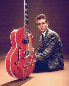 "Eddie Cochran (""Twenty Flight Rock,"" ""Summertime Blues"") who died in a car wreck at 21, with his gorgeous modified 956 Gretsch 6120 Chet Atkins Western hollowbody guitar. The instrument (George Harrison used a similar one) is now in the Rock and Roll Hall of Fame in Cleveland."