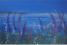 """seascape and wildflowers x 20 """" deep edge, painted canvas Art Janet Davies sea harbours landscapes semi abstract realism Canvas Wall Art, Coastal Art, Large Canvas Art, Painting Edges, Canvas Wall Art Contemporary, Art, Castle Painting, Seascape Paintings, Top Paintings"""