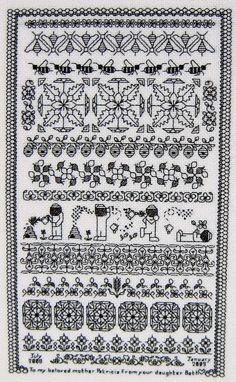 Story time blackwork and bees Blackwork Cross Stitch, Blackwork Embroidery, Cross Stitch Borders, Cross Stitch Samplers, Cross Stitch Charts, Cross Stitching, Cross Stitch Embroidery, Embroidery Patterns, Cross Stitch Patterns