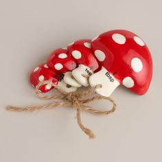 Our fun Toadstool Measuring spoons are durably crafted of ceramic and brightly painted for a charming display. The four exclusive spoons are easy to clean and bound with twine to keep them together. They're whimsical kitchen essentials you'll use repeatedly when baking or cooking.