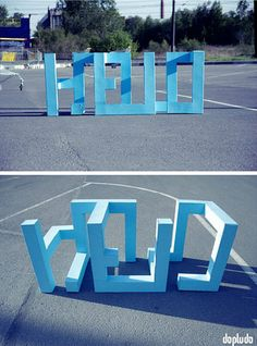 """In this clever work by Dopludo Collective, three-dimensional shapes that stand up on their own in a parking lot reveal themselves to be a word when viewed from a certain angle. Environmental Graphics, Environmental Design, Urbane Kunst, Guerilla Marketing, Street Marketing, 3d Text, 3d Typography, Illusion Art, Typography Inspiration"