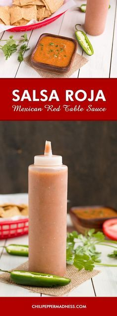 Mexican Red Table Sauce (Salsa Roja) - The perfect taco sauce or. Mexican Red Table Sauce (Salsa Roja) - The perfect taco sauce or burrito sauce you will want to always have around. Sauce Salsa, Chili Sauce, Tamale Sauce, Jalapeno Sauce, Easy Homemade Salsa, Homemade Sauce, Homemade Mexican Salsa, Homemade Butter, Vegetarian