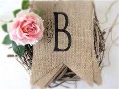 Items similar to Bienvenue Burlap Banner on Etsy Burlap Projects, Burlap Crafts, Craft Projects, Diy Crafts, Craft Ideas, Decorating Ideas, Fabric Crafts, Decor Ideas, Burlap Monogram