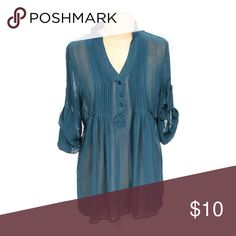 Beautiful blue sheer top Gorgeous pleated button up half way sheet top. Charlotte Russe Tops Blouses