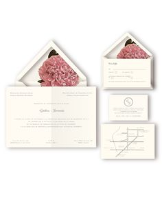 Peony invitation suite the romantics. This wedding stationery includes invitations, lined envelopes, thank you notes, menus and maps.