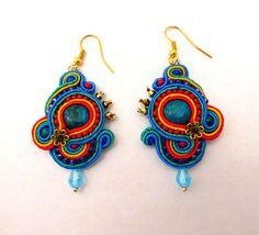 Bright Soutache Earrings with Jasper by ZinaDesignJewelry on Etsy, $45.00