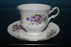 VINTAGE QUEEN ANNE TEACUP SET VIOLETS DESIGN  Especially for Gwen