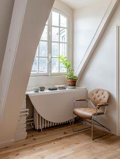 Apartment Walls, Studio Apartment, Pine Wood Flooring, Diy Regal, Room Of One's Own, Attic Spaces, Paris Apartments, The Design Files, Marble Countertops