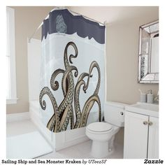 Funny Shower Curtains, Custom Shower Curtains, Kraken Shower Curtain, Change Background, Guest Bed, Sea Monsters, Tentacle, Adulting, Sailing Ships