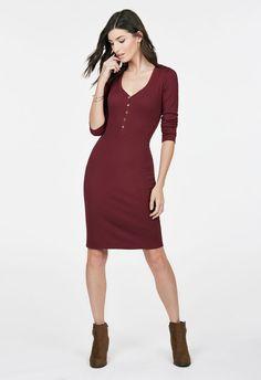 Henley Rib Knit Dress Kleidung in Oxblood - günstig kaufen bei JustFab