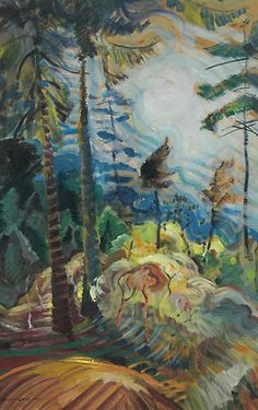 """British Columbia Landscape,"" Emily Carr, oil on paper laid down on plywood, x private collection. Tom Thomson, Canadian Painters, Canadian Artists, Emily Carr Paintings, Post Impressionism, Impressionist Paintings, Art Moderne, Autumn Art, Art Auction"