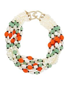 Kenneth Jay LANE KJL Gripoix Poured Glass Necklace Pearl Jade Coral Simulated #KennethJayLaneKJLDesigner #ChokerClusterCollarStatement