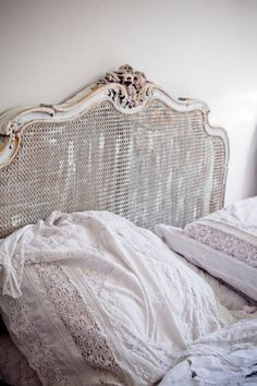Antique bed, beautiful vintage linens.  Virginias Vintage Hire Loves!