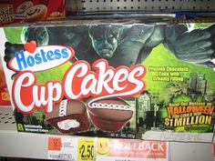 Hostess Cupcakes box with an Incredible Hulk DVD promotion and a Halloween promotion. Hostess Cakes, Cupcake Boxes, Incredible Hulk, Chocolate Cake, Snack Recipes, Chips, Cupcakes, The Incredibles, Halloween