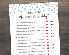 Pink and Silver Baby Shower Games, He said She said, Mommy or Daddy Game, Girl Baby Shower, Who said Card Games, Game Cards, He Said She Said, Gold Baby Showers, Matching Games, Baby Shower Printables, Printed Materials, Print And Cut, Baby Shower Games