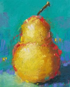 """Daily Paintworks - """"Yellow Pear Number 5"""" - Original Fine Art for Sale - © Cindy Haase"""