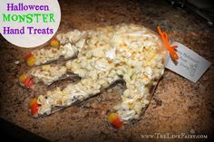 Halloween Monster Hand Treats #halloween #halloweenparty #bookoflife #holiday