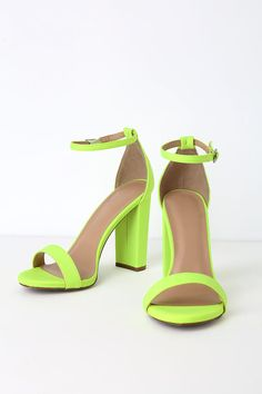 The Loulie Neon Yellow Lycra Ankle Strap Heels are ready to party! Vivid neon green-meets-yellow ankle strap heels covered in trendy lycra fabric. Neon Heels, Yellow Heels, Neon Yellow, Lime Green Heels, Ankle Strap Heels, Ankle Straps, Toe Band, Beautiful High Heels, Fancy Shoes