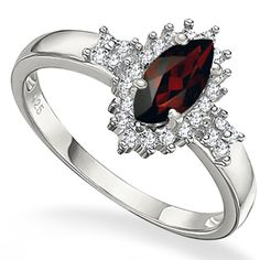 The deep attractive red garnet adds a glamour of attention wherever you go, with the double brilliant genuine white diamonds mounted perfectly with high quality pure 0.925 sterling silver. Additional highlight, this beauty is plated with platinum for longer lasting shine. Today's price: $29.99
