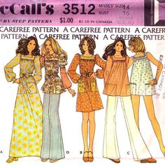 "1970's Misses Dress or Smock. Vintage dress blouse pattern. Maxi / Mini. Folk / Boho. Vintage sewing pattern. McCall's 3512. Bust 36"" on Etsy, $9.19"