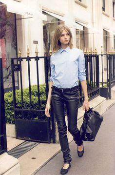Leather + blue shirt.