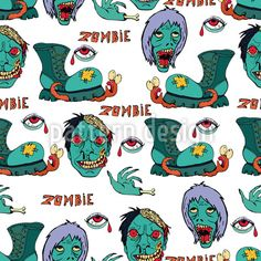 Zombie - Cool hand-drawn pattern for teens with zombies, shoes and a Halloween Vector, Halloween Party, Vector Pattern, Pattern Design, Typography, Lettering, Zombies, Surface Design, Hand Drawn