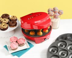 3-in-1 Cake Pops, Donuts, Cupcakes  With this Babycakes Multi Treat Maker model MT-6 you will be able to make mini cupcakes, mini donuts and cake pops in one machine with it's non-stick coated interchangeable cooking plates. This unit has a power and ready light, non-skid rubber feet, and cord wrap. 760 Watts.
