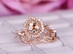 7mm Morganite Engagement Ring Sets Floral Vintage Diamond Wedding Ring 14K Rose Gold - 6.5 / 14K Yellow Gold