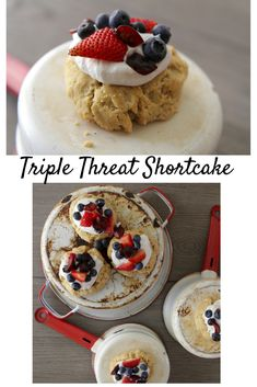 Triple Threat Shortcake! Healthy and delicious, full of coconut whipped cream and three berries. #paleo #glutenfree #dairyfree