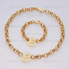 juego collar y brazalete de diseno nuevo moda con dije tigre en acero dorado inoxidable