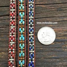 Southwest Leather Wrap Bracelet Kit - 2-hole SuperDuo Beads - Ladder Stitch - Turquoise Color Mix