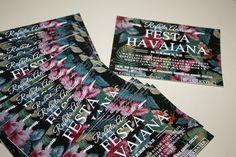 Convite Festa Tropical Convite festa havaiana! Convite Floral, 15 anos para festa havaiana! Convite tema Hawa!