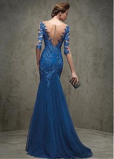 Graceful Dot Tulle   Tulle V-neck Neckline Mermaid Evening Dresses with Lace  Appliques Formal 74a2c0f71d17