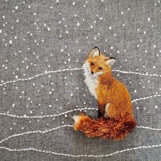 Modern Embroidery, Embroidery Hoop Art, Cross Stitch Embroidery, Embroidery Designs, Thread Painting, Fabric Painting, Batik Quilts, Fox Art, Embroidery Techniques