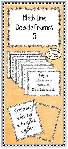 Black Line Doodle Frames 5 $1 Commercial use welcome! http://www.teacherspayteachers.com/Product/Clip-Art-Doodle-Frames-5-714726