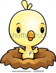 A cartoon illustration of a baby chick in a nest.